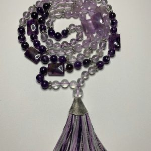 Amethyst Clear Quartz 108 Bead Mala | Crystals To Inspire